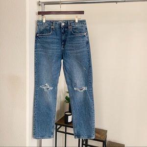 Zara Distressed Straight Leg Jeans.